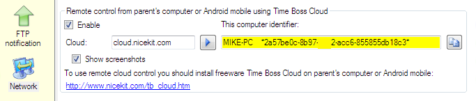 Time Boss Pro, settings for remote control using Time Boss Cloud