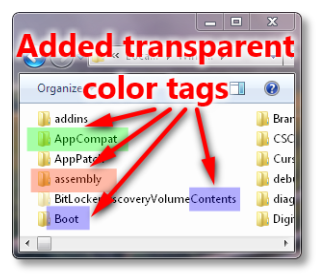 Transparent colors tags on screenshot