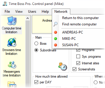 Parental control program - Time Boss Pro. Connection to remote computer.